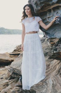 Jewel-Neck Short Sleeve Two-Piece Wedding Dress With Illusion