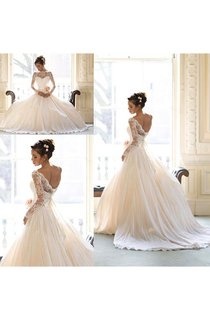 Elegant Lace A-line Bowknot 2016 Wedding Dress Court Train Long Sleeve