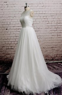 Princess High-Neck Sleeveless Long A-Line Tulle Dress With Lace Bodice