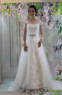 Bateau Neck Long Illusion Sleeve A-Line Wedding Dress With Organza Overlay