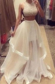 Glamorous Halter Sleeveless Prom Dress With Beadings Ruffle Two Pieces