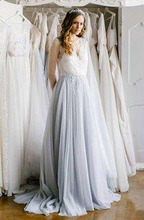 Long Sleeve Tulle Satin Beaded Wedding Dress