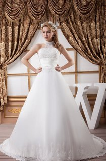 High-Neck Sleeveless A-Line Dress with Appliques and Fitted Waist