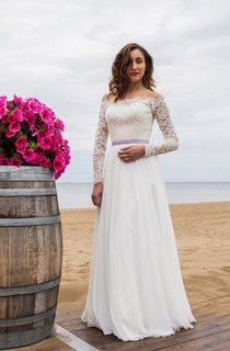 Off-Shoulder Long Sleeve Closed Sheer Back Wedding Dress With Chiffon Skirt