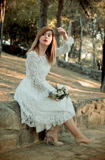 Bateau Low-V Back Tea-Length Lace Wedding Dress With Flower And Sash
