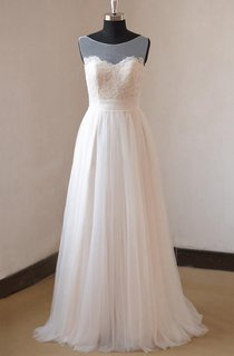 A-Line Chiffon Tulle Lace Weddig Dress With Illusion