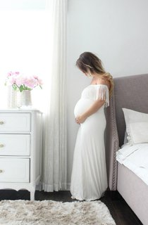 Maternity Gown White Maternity Long Maxi The Fitted Fringe Dress