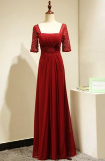 Red Elegant Lace Short Sleeves Formal Gown