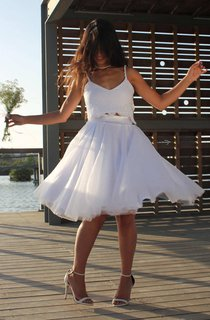 Spaghetti Short A-Line Two-Piece Wedding Dress With Lace