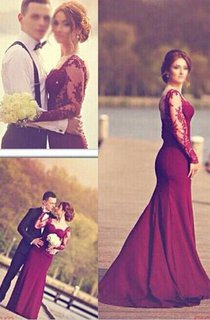 Gorgeous Long Sleeves Lace Appliques Evening Dress 2016 Mermaid Floor-Length