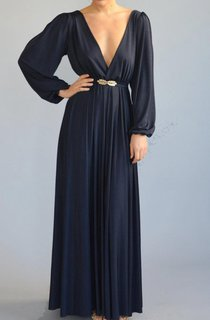Floor-length Bell Sleeve Dress