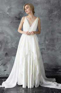 Plunged Sleeveless Chiffon Floor-Length Dress With Pleats And Draping