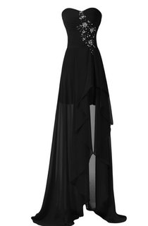 Strapless Front Slit Dress With Draping and Appliques