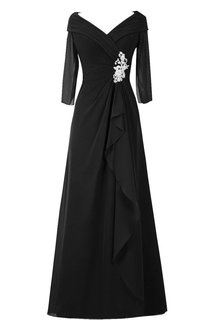 3 4 Sleeved A-line Chiffon Gown With Ruffles
