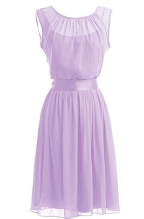 Simple Scoop Chiffon A-line Gown With Satin Sash