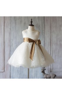 2016 Off White Beading Neck a Line Dot Knee Length Tulle Junior Bridesmaid Dress