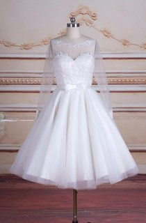 Tea-Length Long Sleeve Backless Tulle Lace Satin Dress