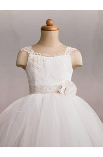 Cap Sleeve Lace Bodice Pleated Ball Gown With Lace-Up Back