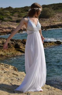 Plunged Sleeveless Chiffon Empire Wedding Dress With Beading And Draping