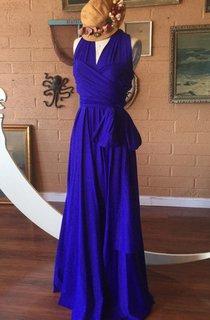 Botanical Iris Blue Octopus Convertible Infinity Wrap Maternity Prom Tardis Blue Dress