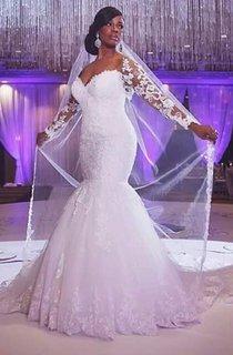 Long Lace Sleeve Sweetheart Neck Mermaid Dress