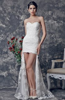 Lace-applliqued Sheath Dress with Asymmetrical Hemline