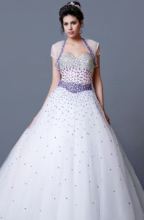 Ombre Fading Beadwork Fitted Bodice Princess Style Gown Glamorous Beauty