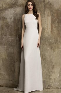 Scoop Sleeveless Floor-Length Dress With Illusion Lace Back