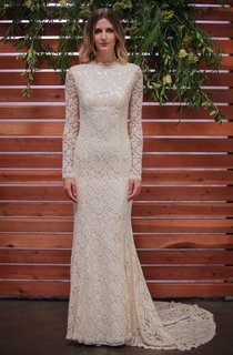 Long Sleeve Lace Embroidered Wedding Dress