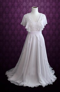 V-neck A-line Chiffon Wedding Dress With Appliques And Cascading Ruffles