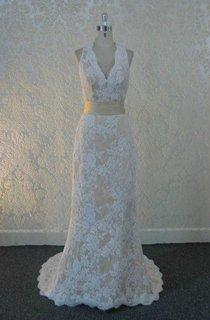 Scalloped Sleeveless Sheath Lace Wedding Dress With Sash And Keyhole Back