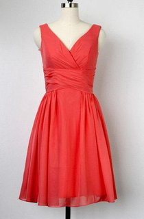 A-line Knee-length V-neck Chiffon&Satin Dress