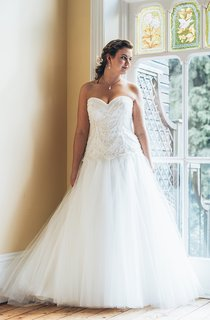 A-Line Long Sweetheart Sleeveless Tulle Court Train Backless  Dress