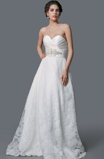 Impressive Ruched Satin and Lace Ball Gown With Belt