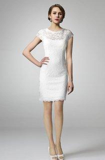 Short Sleeve High Neck Lace Wedding Dress