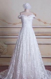 A-Line Off-The-Shoulder Tulle Lace Satin Dress With Lace-Up Back