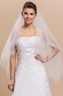 Simple and Elegant Fingertip Wedding Veil With Cut Edge