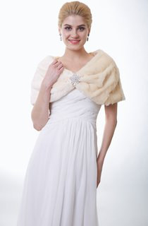 Champagne Faux Fur Bridal Wrap With Crystal Brooch