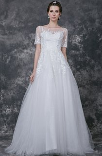 Noble Short Sleeve Tulle Ball Gown With Lace Applique