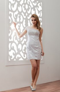 One-Shoulder Illusion Pencil Mini Dress with Beading and Sequins