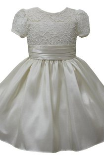 Short-sleeved A-line Lace Dress With Pleats