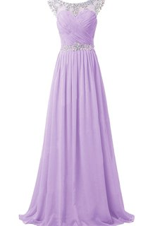 Gorgeous Cap-sleeve Scoop Crystal-beaded Chiffon A-line Dress