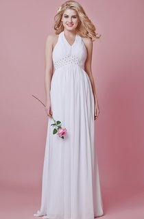 Chic Halter A-line Chiffon Dress With Beaded Waist