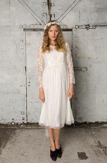 Fine Lace Jewel Neck Long Sleeve A-Line Tulle Dress