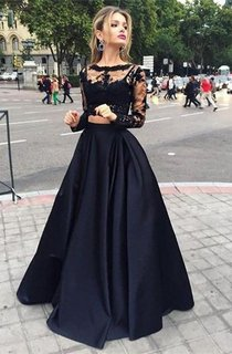Ball Gown Long Sleeves Bateau Satin Floor-Length Dresses