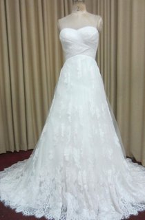 Long A-Line Criss-Cross Wedding Dress With Lace Trim and Ruching