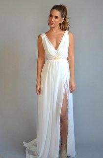 Sheath Chiffon Split Front Sleeveless Dress With Sweep Train