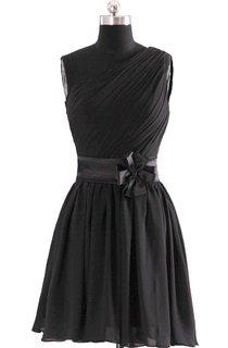 Modern One-shoulder Short Dress With Floral Belt