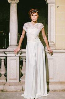 Floor-Length Jersey Satin Lace Wedding Dress