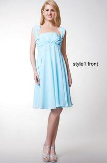 Sleeveless Pleated Short Chiffon Dress With Convertible Straps